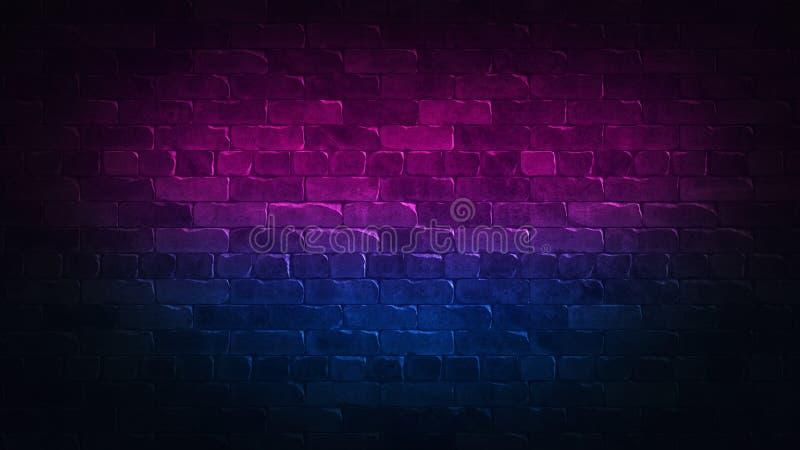 Retro- abstrakte Werbung 80s mit buntem Backsteinmauerhintergrundneon f?r Konzeptentwurf Bunte Auslegung des Strudels Blauer Ausz lizenzfreie abbildung