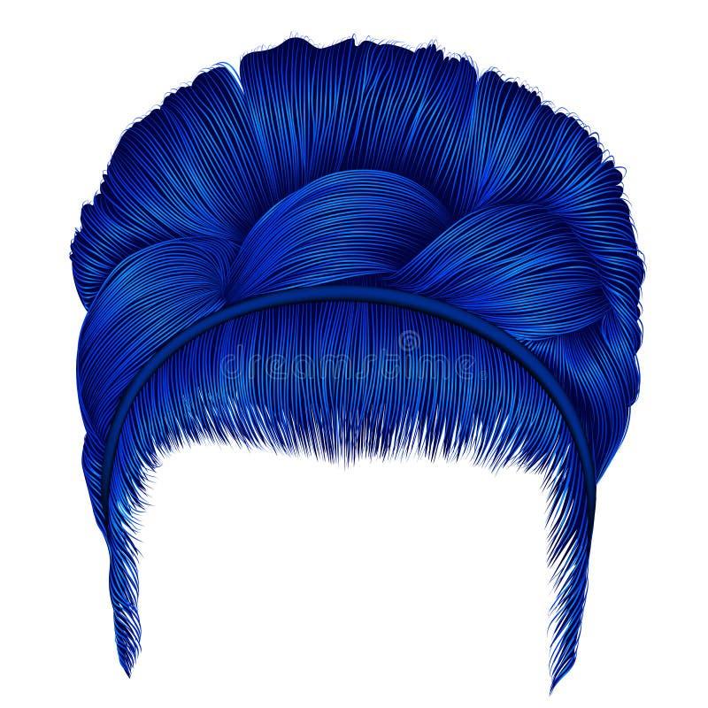 Retro acconciatura Babette con la treccia capelli del blu delle donne Modo illustrazione di stock