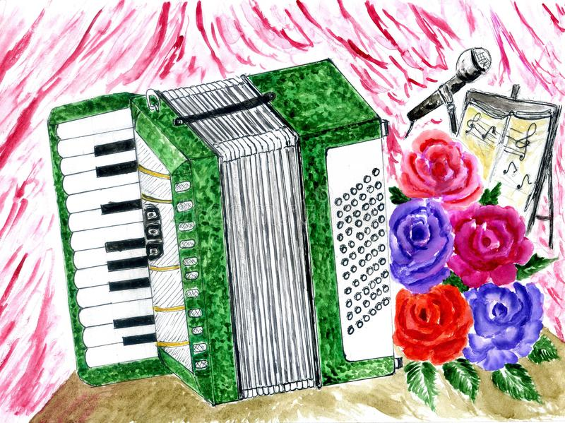 Retro Accordion Art. Illustration of an accordion vintage music instrument, hand drawn watercolor art, grunge background royalty free illustration