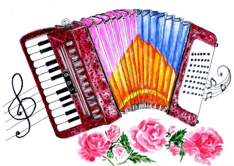 Retro Accordion Art. Illustration of an accordion vintage music instrument, hand drawn watercolor art, grunge background stock illustration