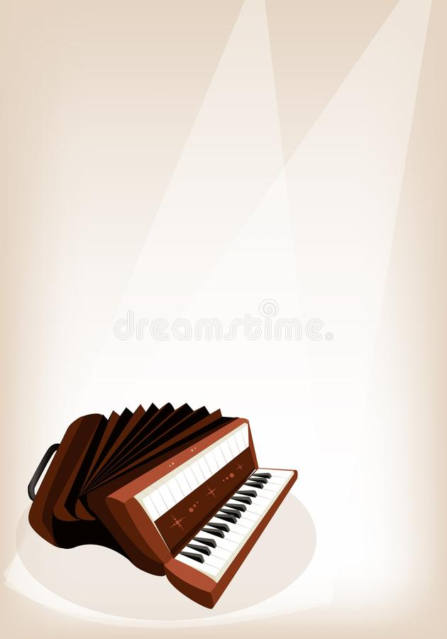 A Retro Accordion on Brown Stage Background. Music Instrument, An Illustration Brown Color of Vintage Accordion on Vintage Brown Stage Background with Copy Space royalty free illustration
