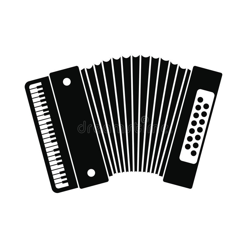 Retro accordion icon. Black simple style on white background vector illustration
