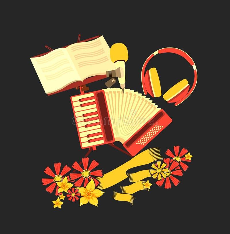 Retro accordion music. Vector illustration of retro music concept musical emblem accordion headphone tambourine concept making music royalty free illustration