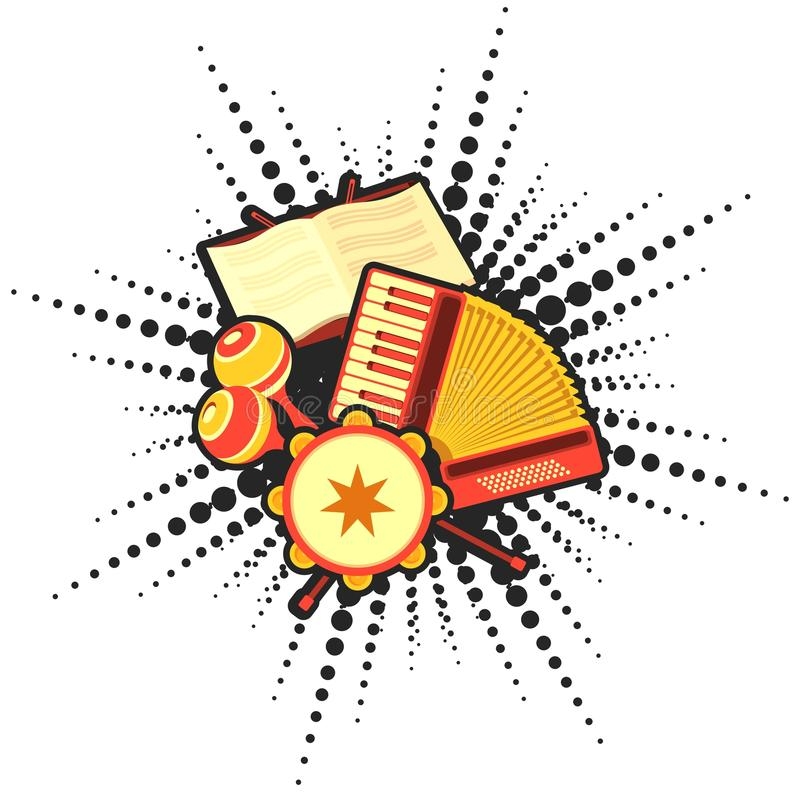 Retro accordion music. Vector illustration of retro music concept musical emblem accordion headphone tambourine concept making music vector illustration