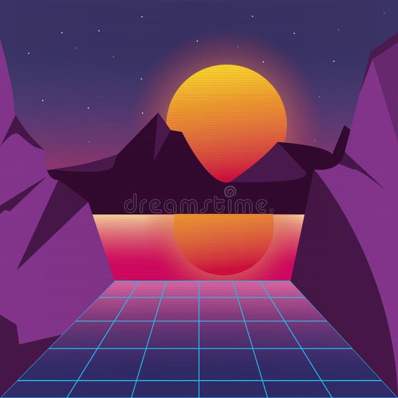 Retro achtergrond futuristisch landschapsontwerp stock illustratie