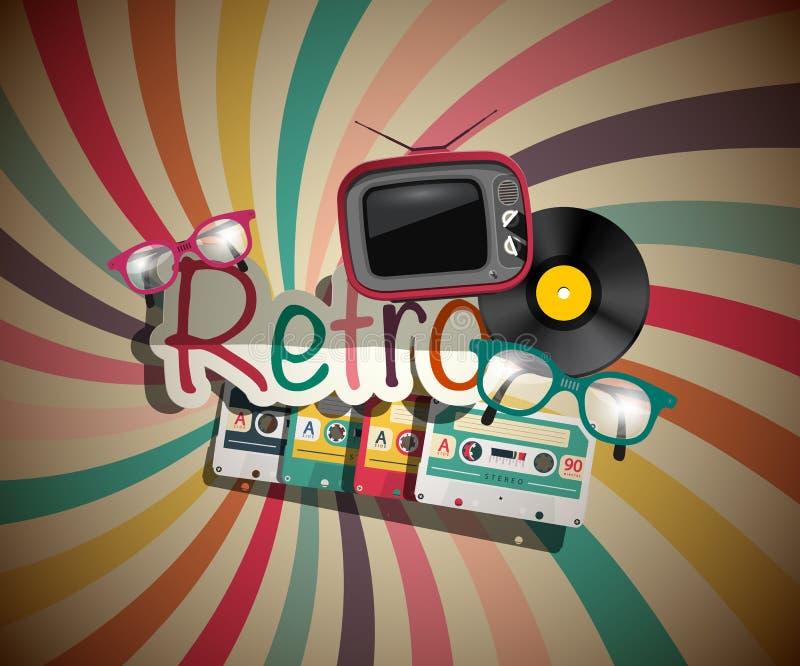 Retro Achtergrond met Uitstekende Voorwerpen vector illustratie