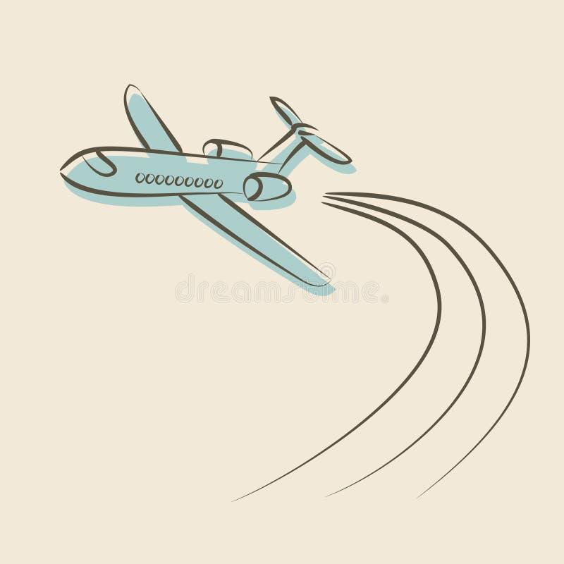 Retro achtergrond met vliegtuig stock illustratie