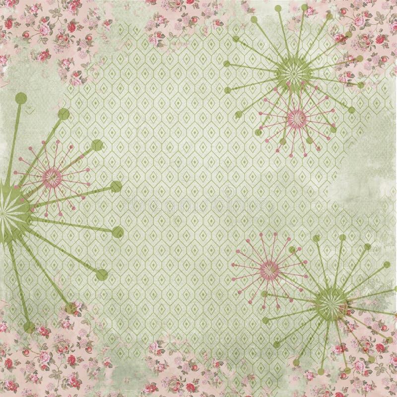 Retro Achtergrond van de Kitschcollage - Retro Bloemencollagedocument - Midden van de eeuwpatroon vector illustratie