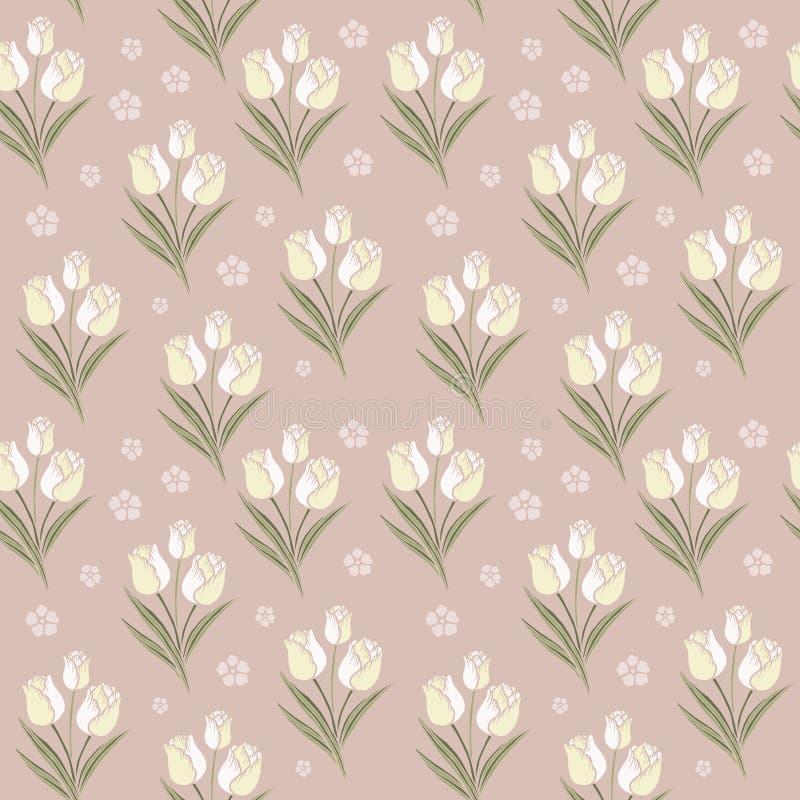 Retro achtergrond van het tulpen naadloze patroon vector illustratie