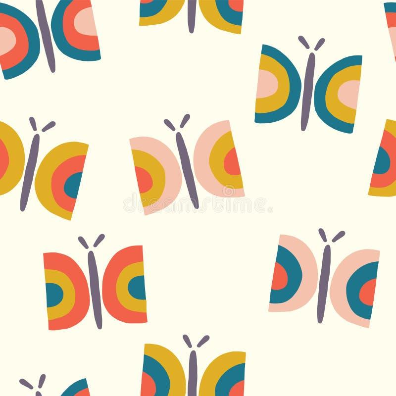 Retro achtergrond van het vlinder naadloze vectorpatroon royalty-vrije illustratie