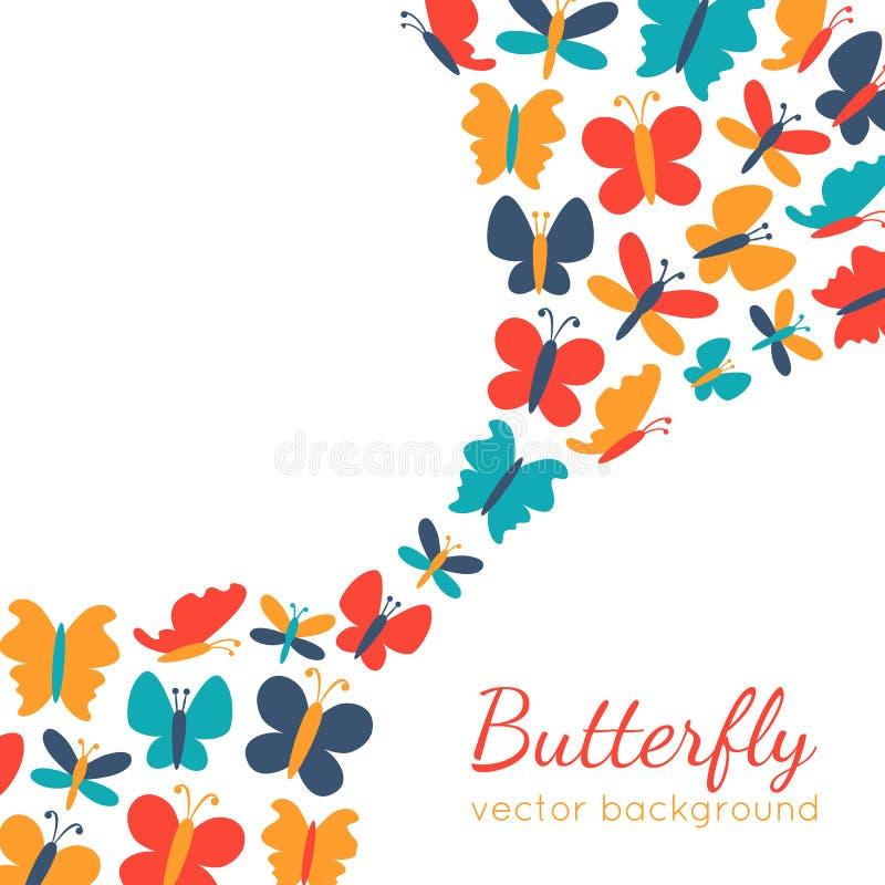 Retro achtergrond van kleurrijke vlindersilhouetten royalty-vrije illustratie