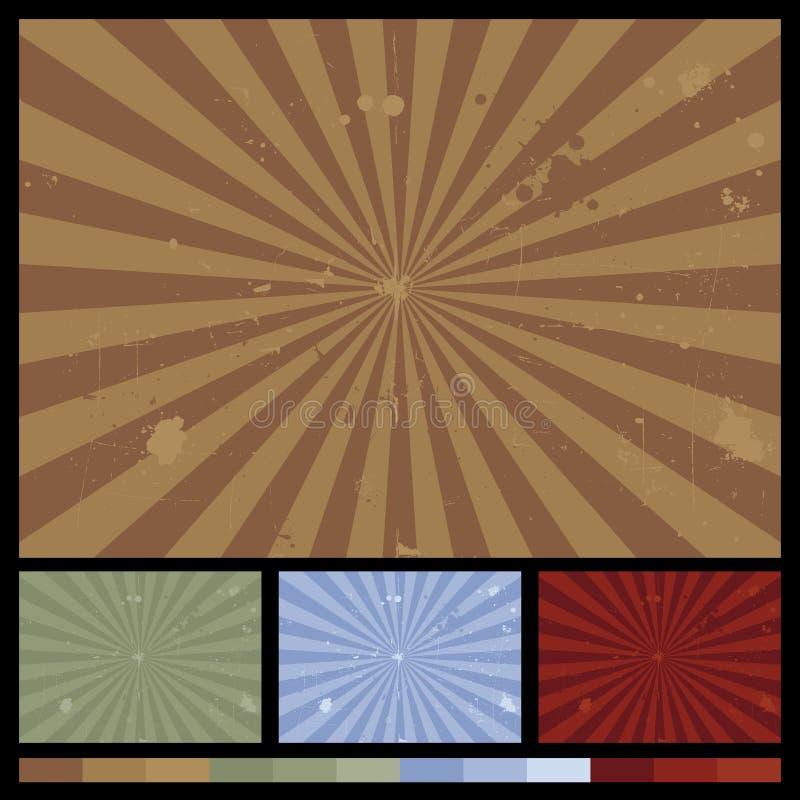 Retro Achtergronden van de Zonnestraal vector illustratie