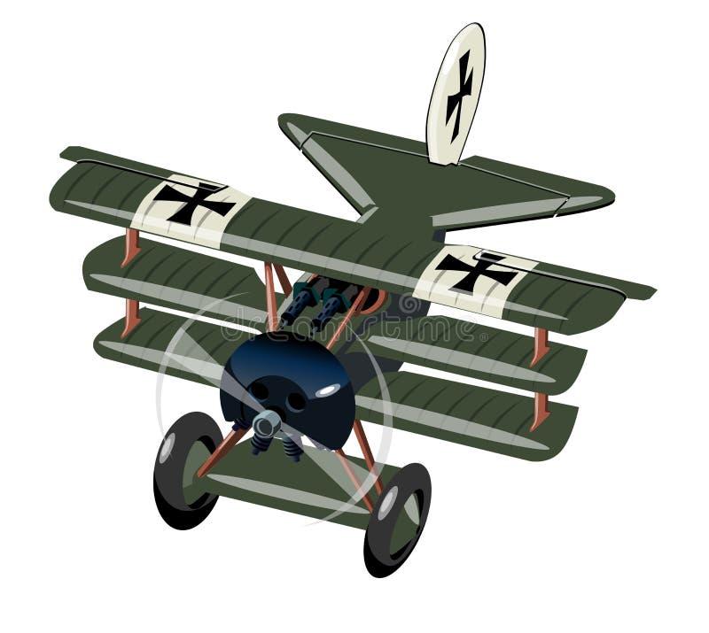 Retro aereo di combattimento del fumetto isolato su bianco royalty illustrazione gratis