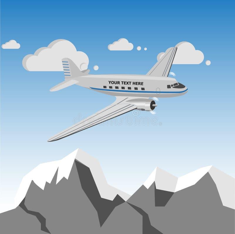 Retro aeroplano d'annata sopra le montagne illustrazione vettoriale