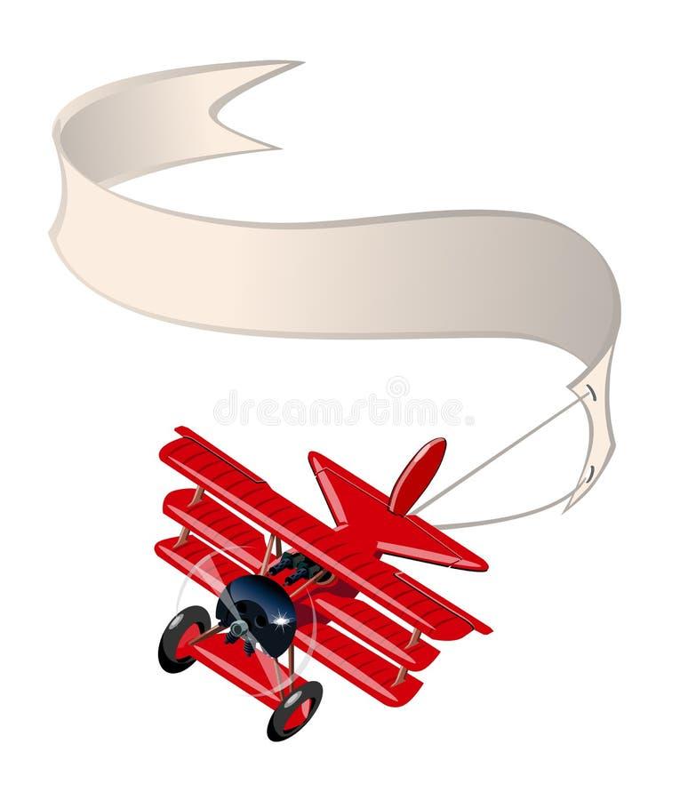 Retro aeroplano del fumetto con l'insegna isolata su fondo bianco illustrazione vettoriale