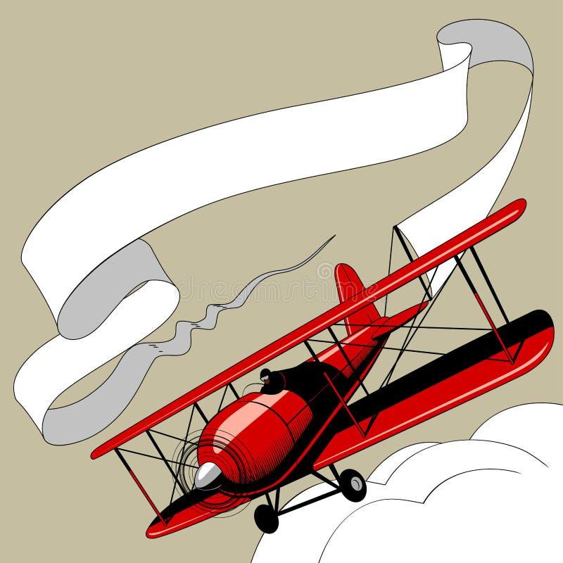 Retro aeroplano rosso con l'insegna del nastro nel cielo royalty illustrazione gratis