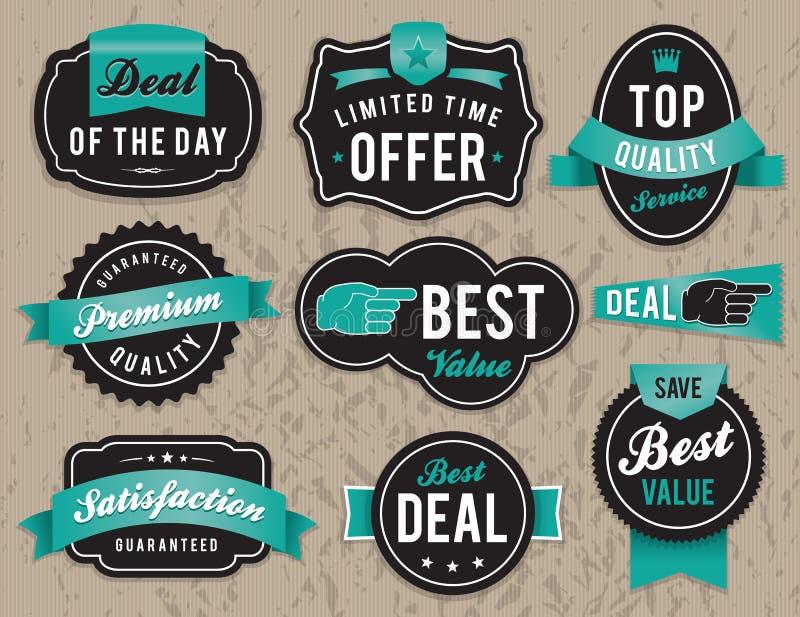 Retro affärsetiketter och emblem stock illustrationer