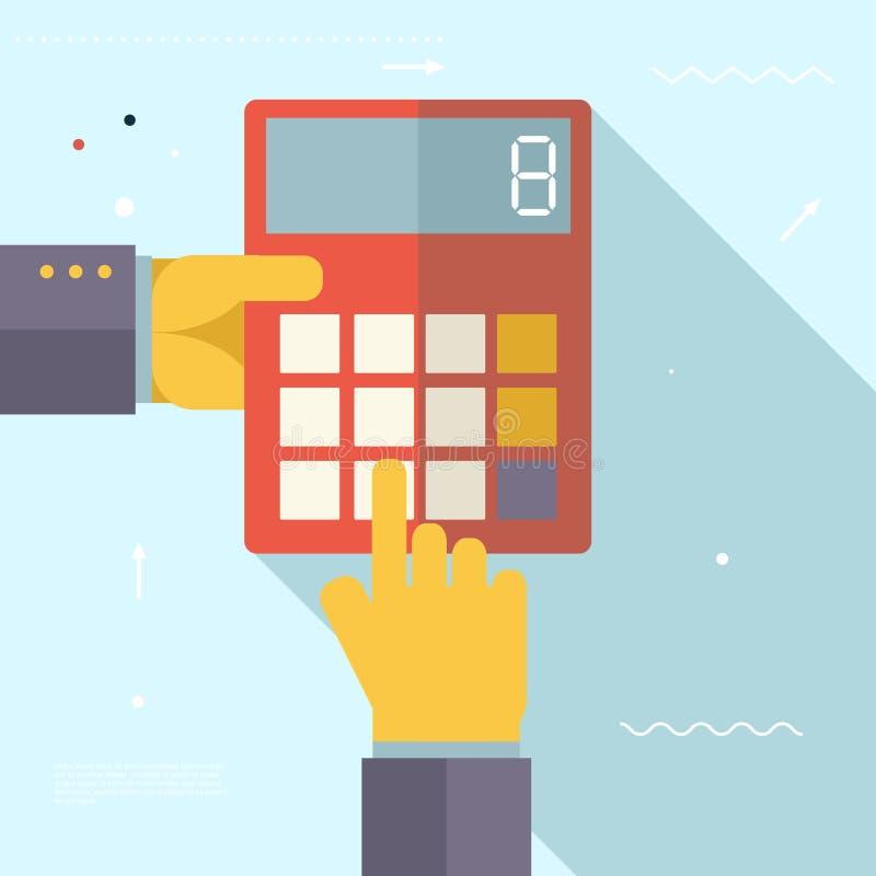 Retro affärshänder med den finansiella räknemaskinen stock illustrationer