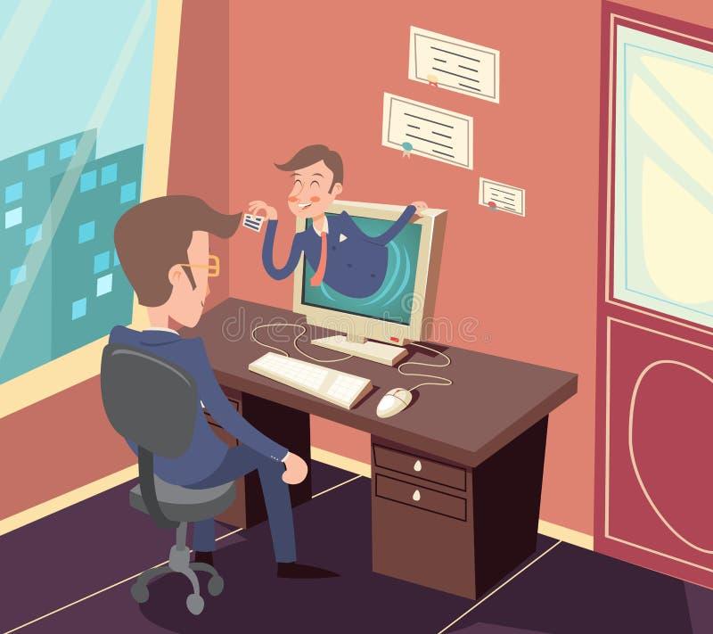 Retro affärsmanmedel Online Visit för tappning till stock illustrationer