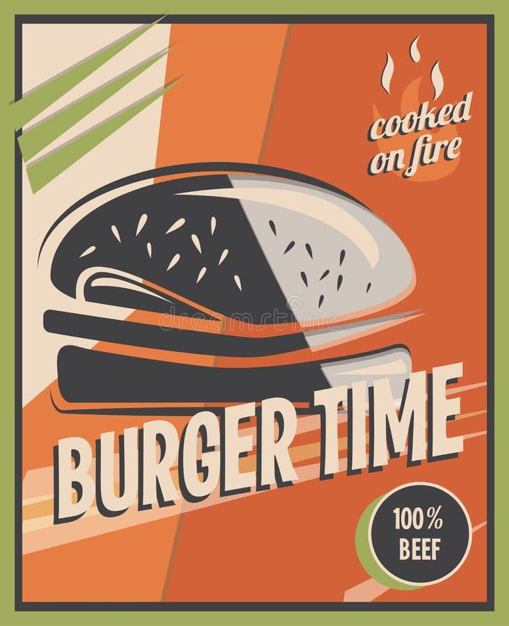 Retro affiche met hamburger met rundvleesvlees restaurantconcept en ontwerp vector illustratie