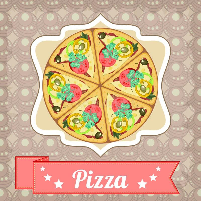 Retro affiche met pizza en recht lint stock illustratie