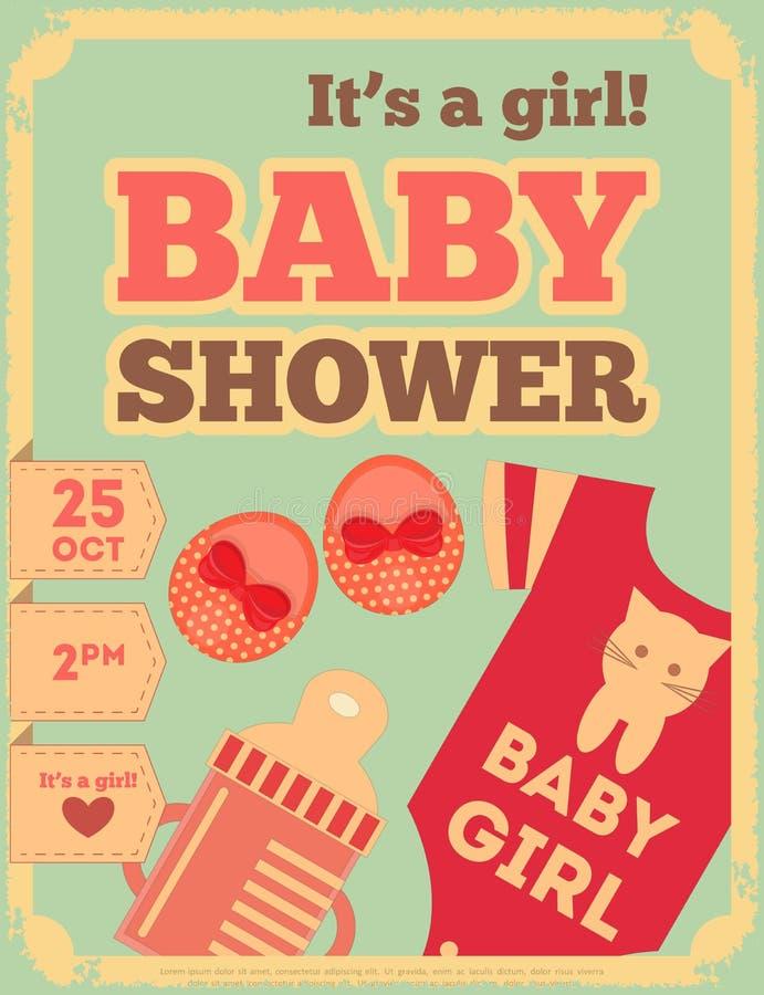Retro Affiche van de babydouche stock illustratie