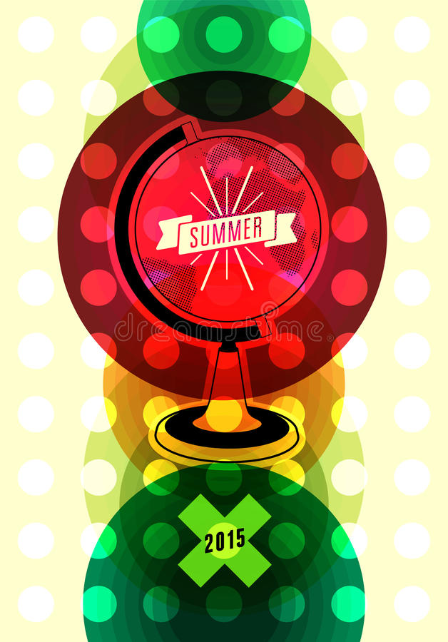 Retro affiche van de de zomertijd Vector typografisch ontwerp met kleurrijke cirkelachtergrond Eps 10 royalty-vrije illustratie