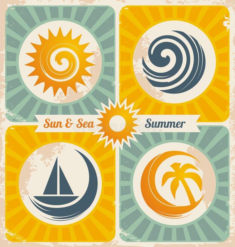 Retro affiche van de de zomervakantie royalty-vrije illustratie