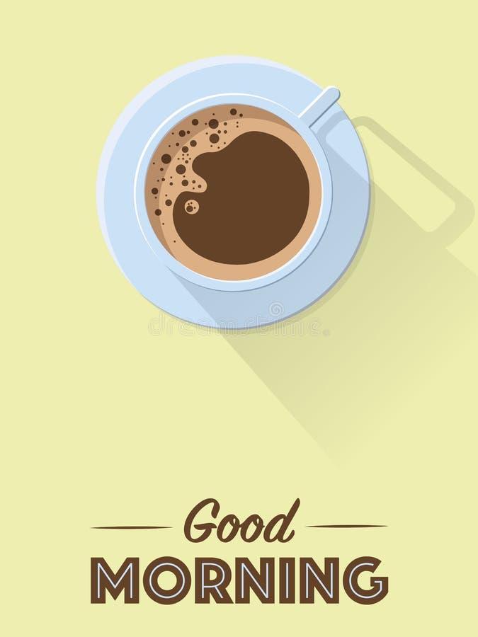 Retro affiche van de goedemorgenkoffie vector illustratie