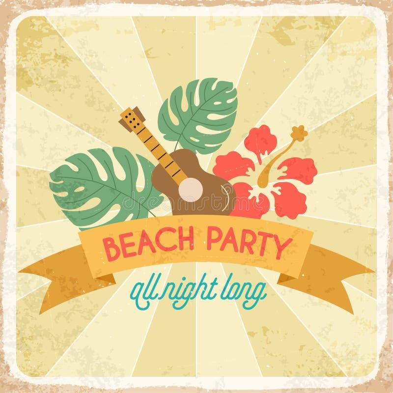 Retro affiche van de de zomervakantie strandpartij royalty-vrije illustratie