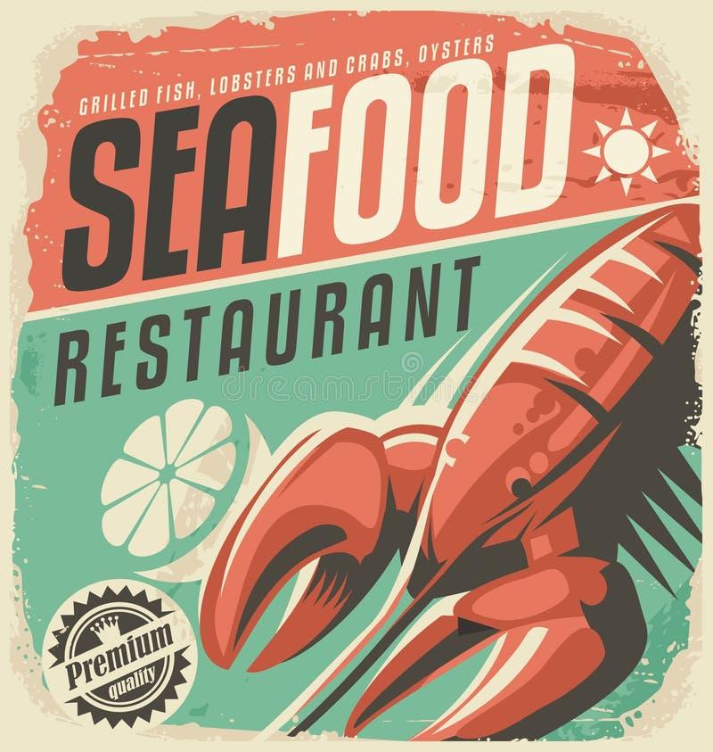 Retro affiche van het zeevruchtenrestaurant met zeekreeft stock illustratie