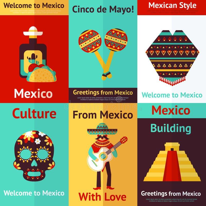 Retro affiche van Mexico stock illustratie
