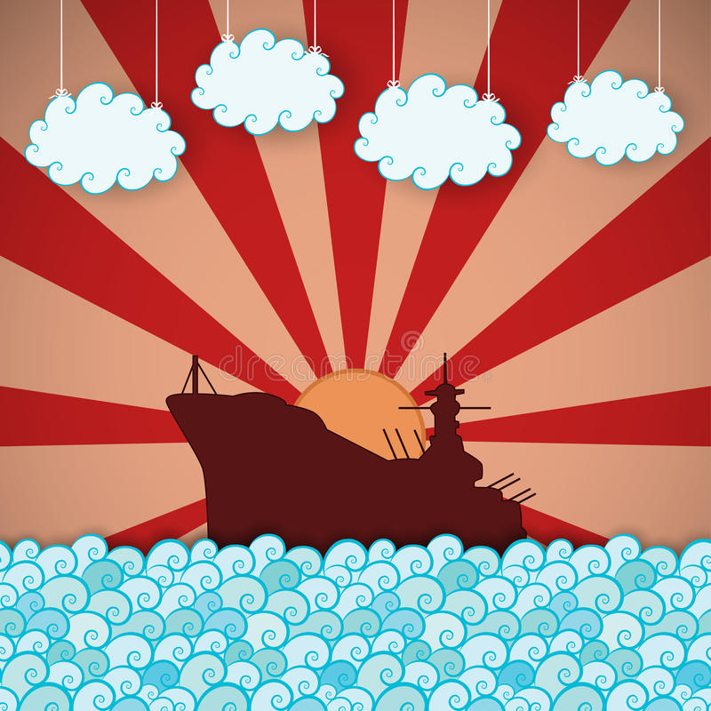 Retro affiche van slagschip royalty-vrije illustratie