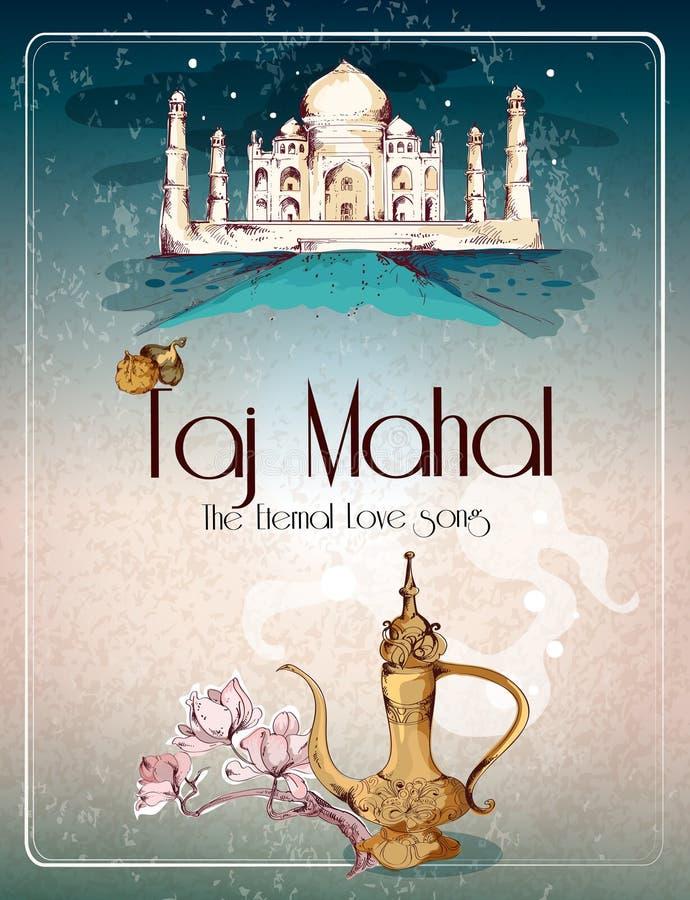 Retro affiche van Taj Mahal royalty-vrije illustratie