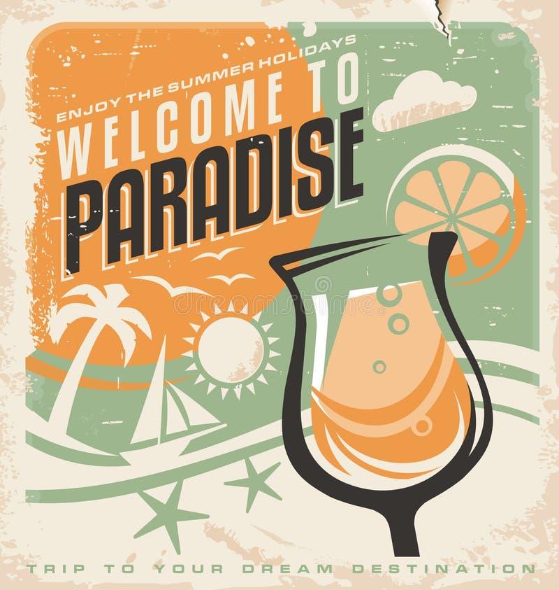 Retro affichemalplaatje voor reisbureau royalty-vrije illustratie