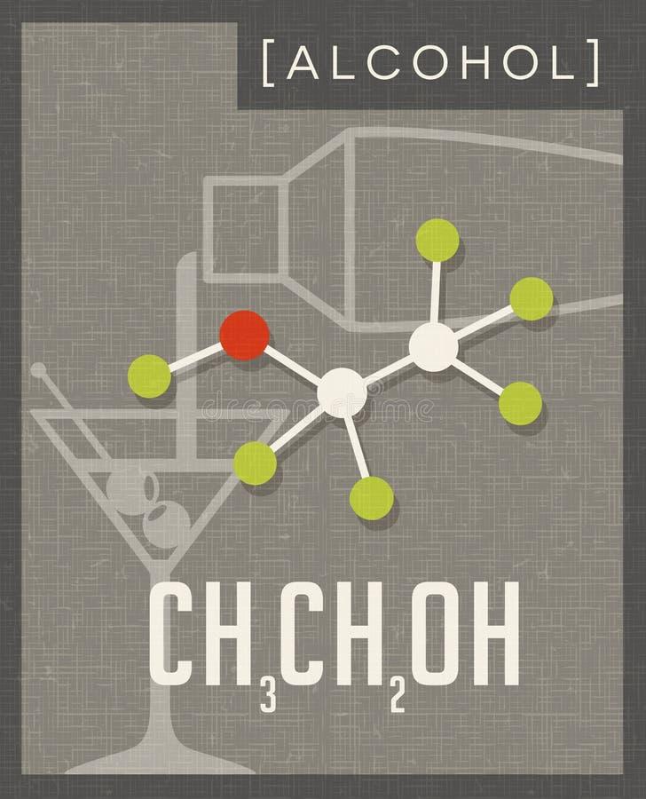Retro affisch av den molekylära strukturen av alkohol vektor illustrationer