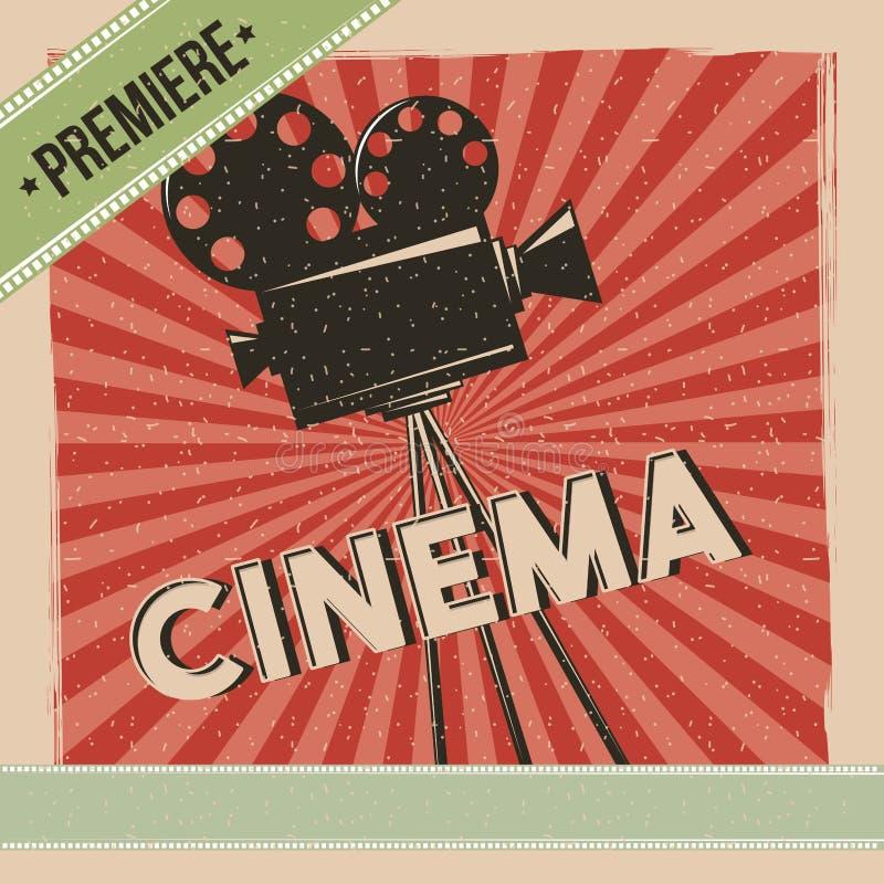 Retro affisch för biopremiärfilm royaltyfri illustrationer