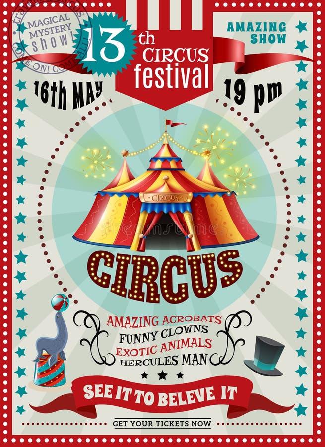 Retro affisch för cirkusfestivalmeddelande royaltyfri illustrationer