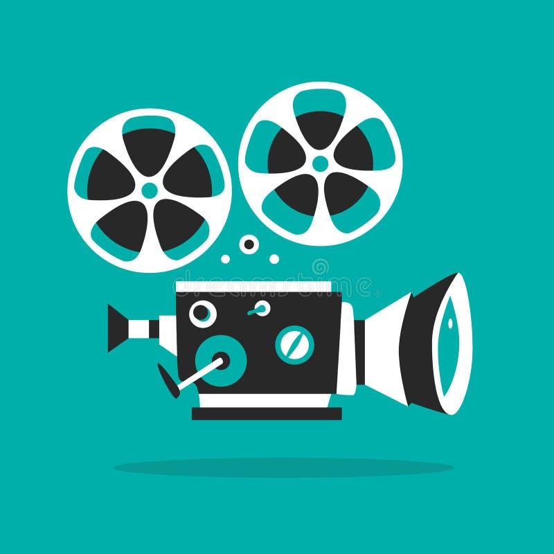 Retro affisch för filmprojektor den främmande tecknad filmkatten flyr illustrationtakvektorn Biofilm royaltyfri illustrationer