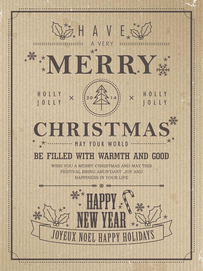 Retro affisch för glad jul royaltyfri illustrationer