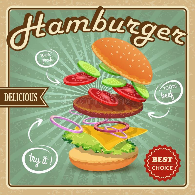 Retro affisch för hamburgare stock illustrationer