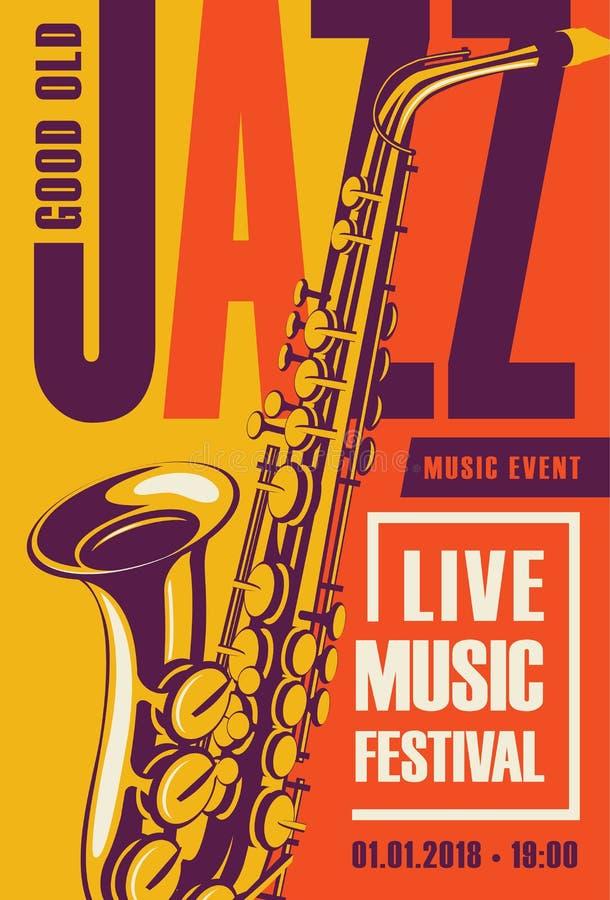Retro affisch för jazzfestivalen med saxofonen vektor illustrationer