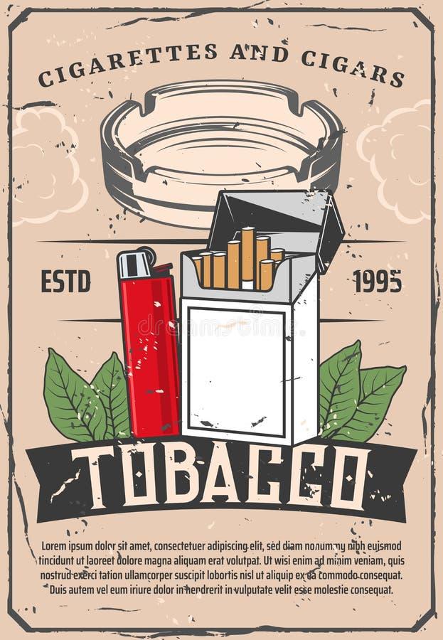 Retro affisch för tobak- och tändare- eller exponeringsglasaskfat royaltyfri illustrationer