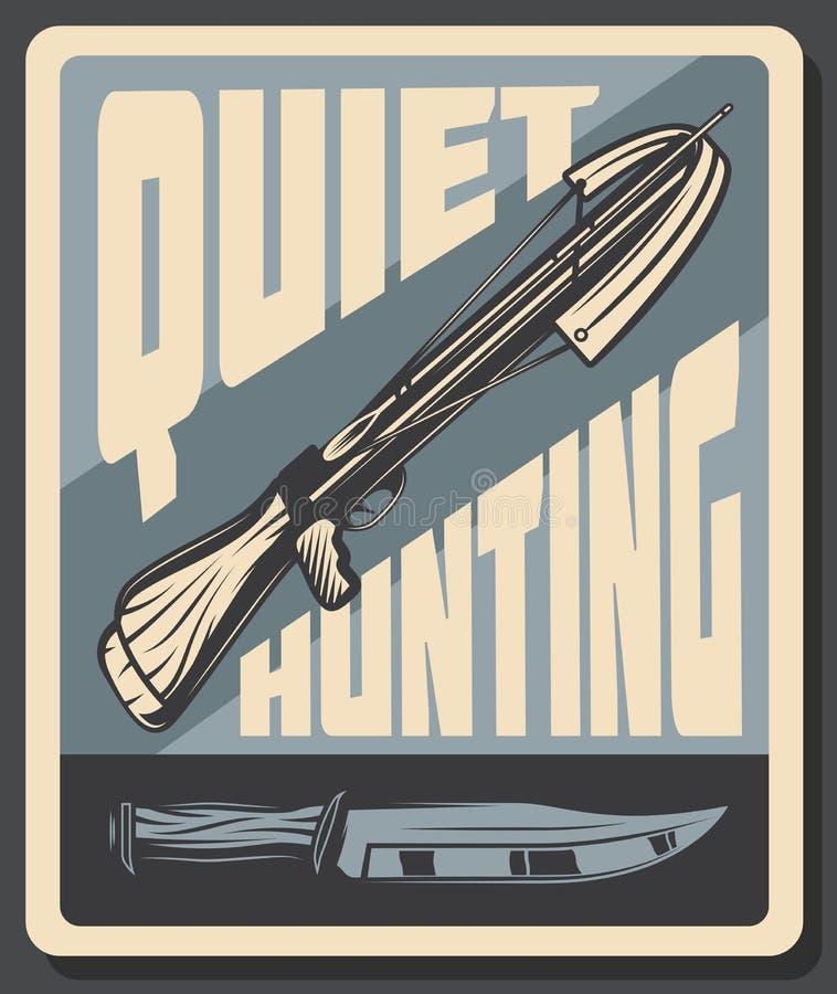 Retro affisch för vektor för tyst jakt royaltyfri illustrationer