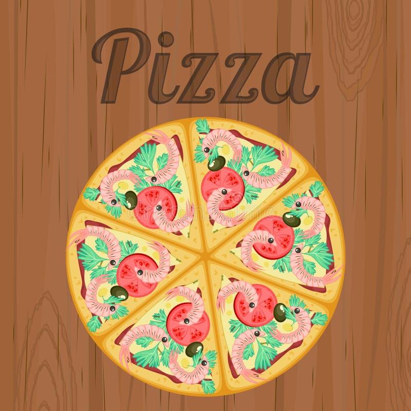 Retro affisch med pizza över trä stock illustrationer