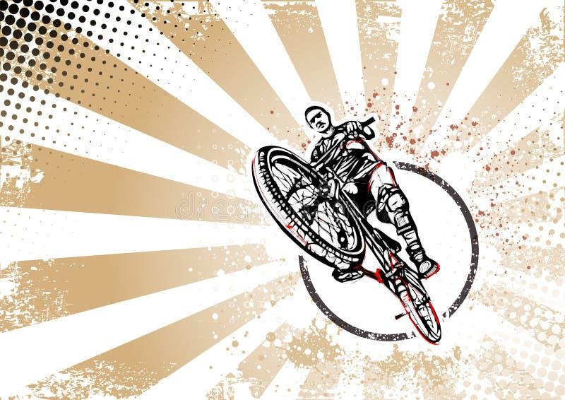 Retro affischbakgrund för cyklist stock illustrationer