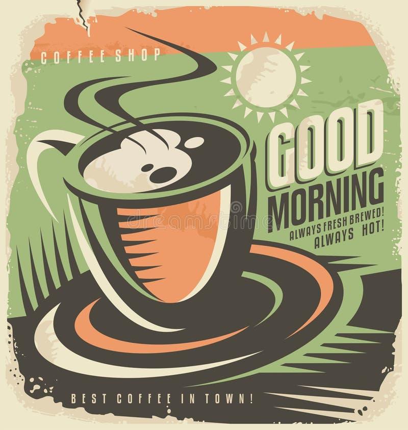 Retro affischdesignmall för coffee shop vektor illustrationer