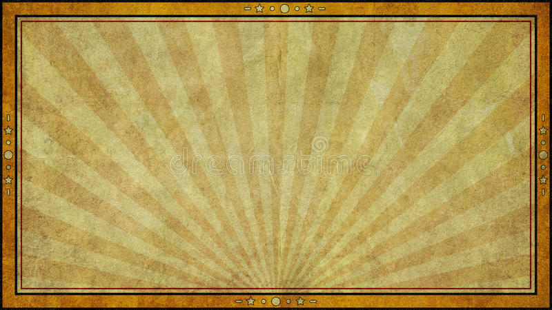 Retro Aged Paper Background Frame in Widescreen Format. A vintage retro style aged paper graphic design background with frame in widescreen 16:9 aspect ratio royalty free illustration