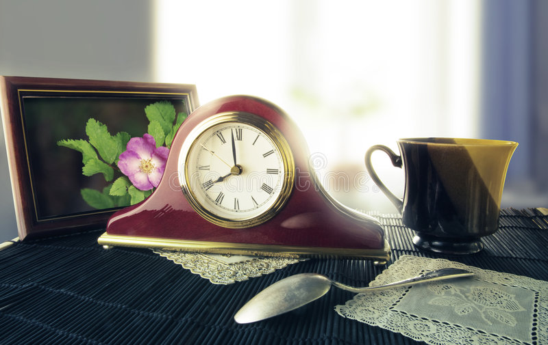 Download Retro Alarm Clock On A Bedside Table Stock Photo - Image: 8674952