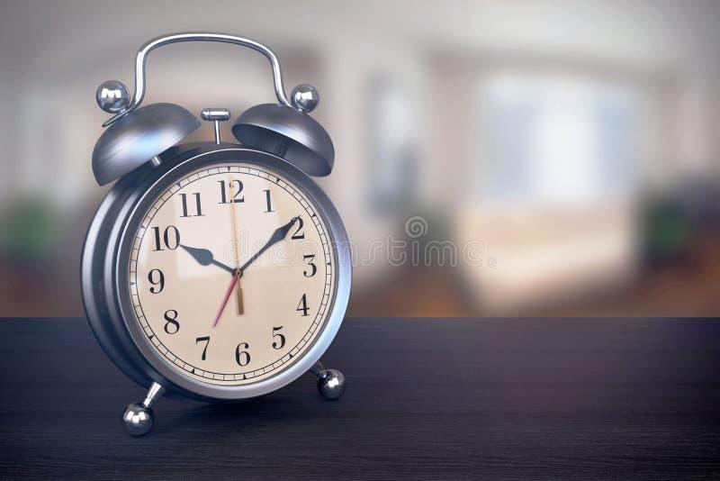 Download Retro Alarm Clock On Bedside Table In Bedroom Stock Illustration    Illustration Of Blur,